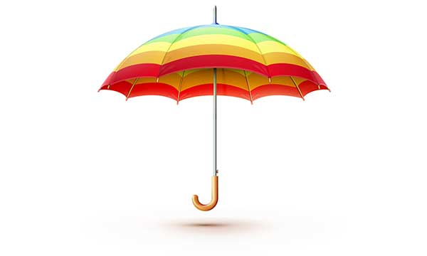 multi colored umbrella
